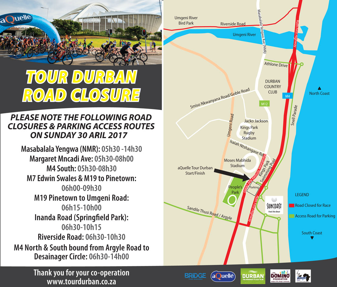TOUR DURBAN: ROAD CLOSURES 2017